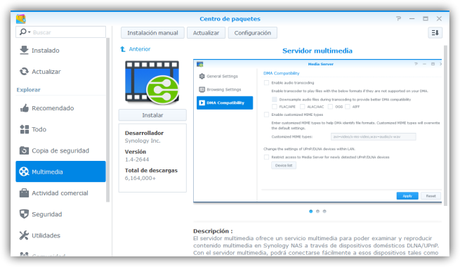 Instalar reproductor multimedia en NAS Synology