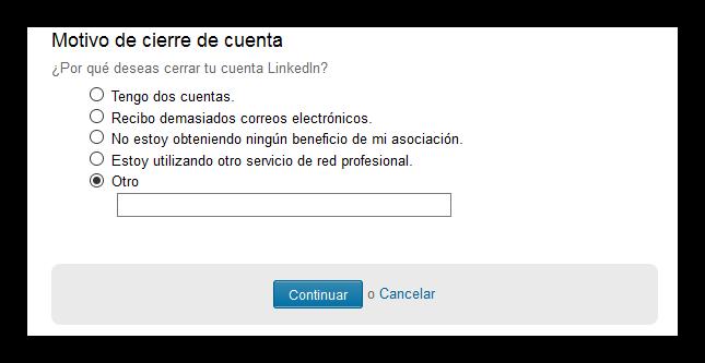 Motivo de cierre de cuenta de LinkedIn