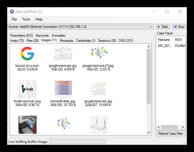 NetworkMiner - Imágenes capturadas