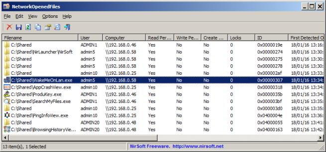NetworkOpenedFiles control de archivos LAN compartidos