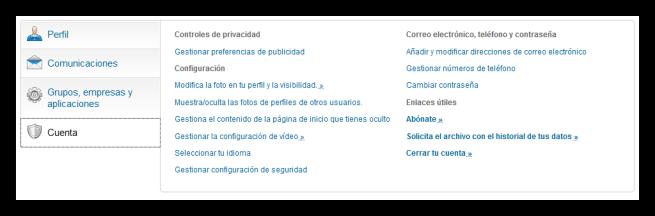 Opciones de cuenta de LinkedIn