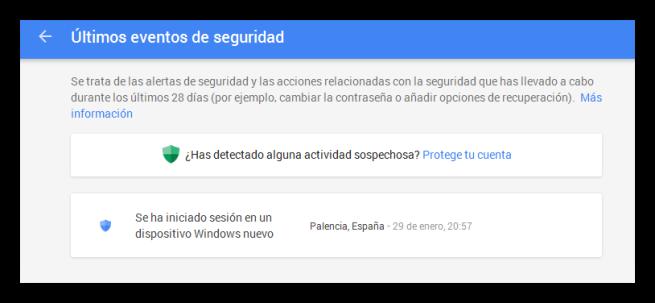 Revisar inicios de sesión y eventos de seguridad de Google