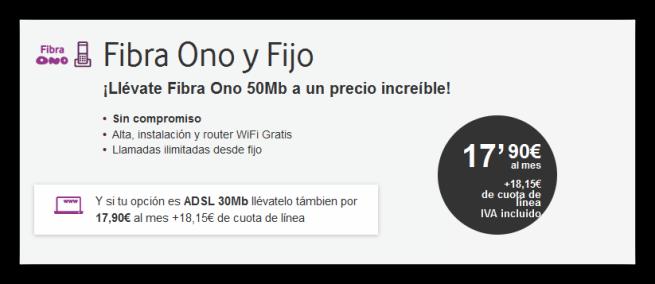 Tarifa base Internet de Ono - febrero 2016
