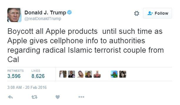 donald trump boicot apple