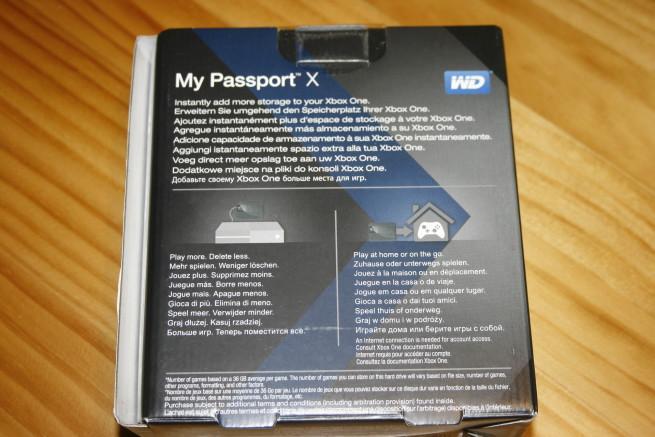 Trasera de la caja del disco WD My Passport X