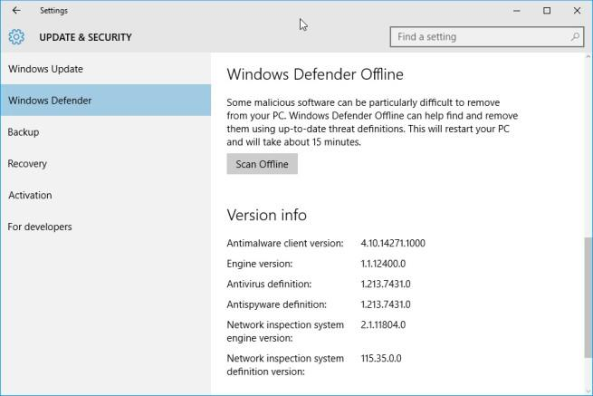 windows defender analisis offline
