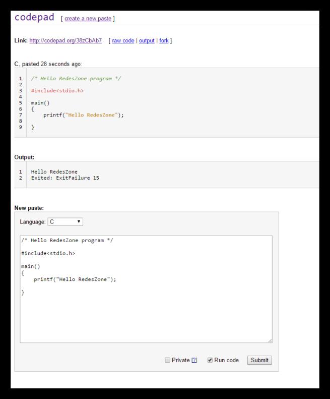Codepad - programar online nube