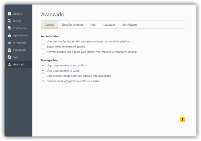 Desactivar desplazamiento suave Firefox