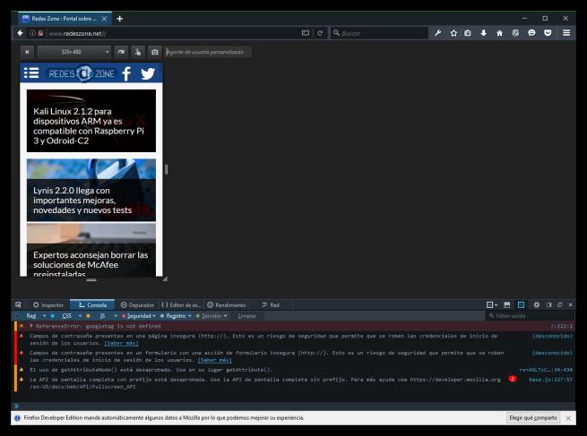 RedesZone en Firefox Developer