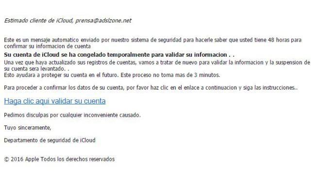 spam de apple correo electrónico
