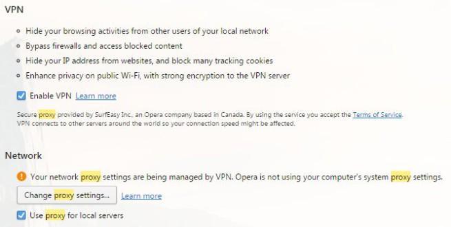 VPN de opera solo es un proxy
