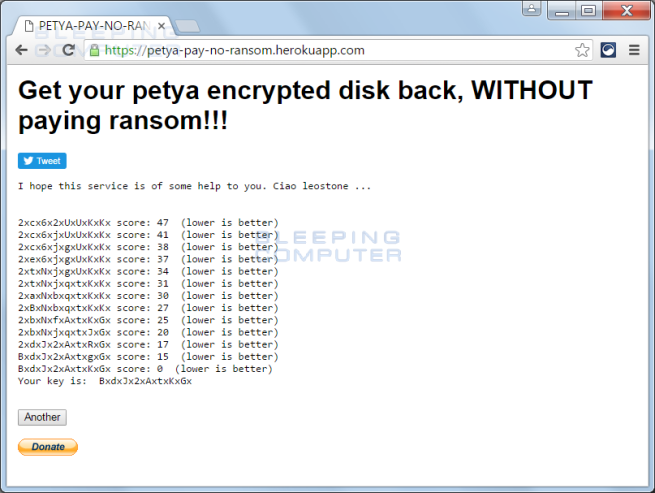 Clave recuperación ransomware PETYA
