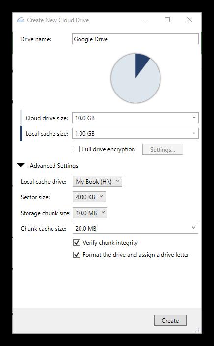 StableBit CloudDrive - Crear nuevo disco