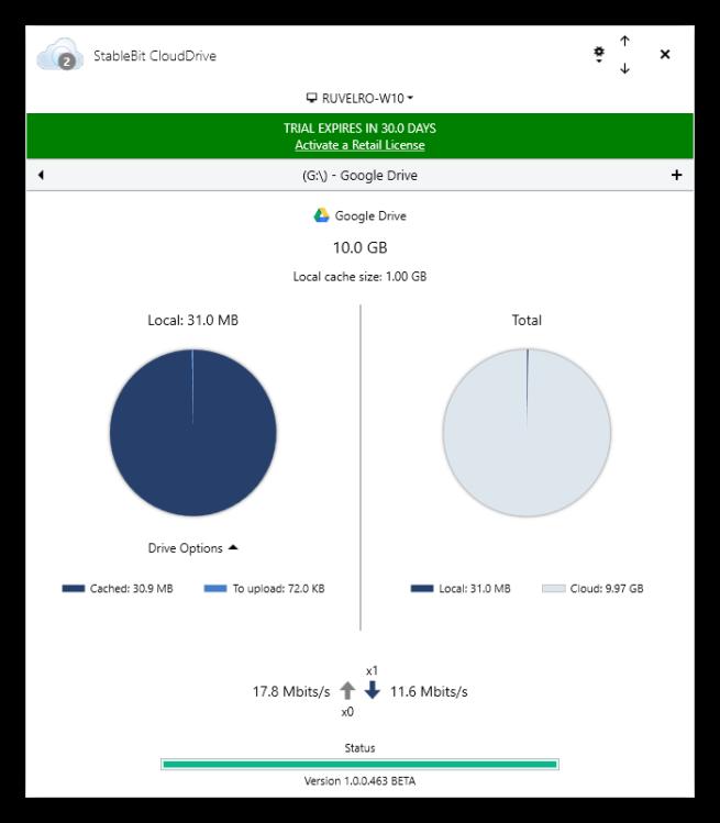 StableBit CloudDrive - Propiedades disco duro