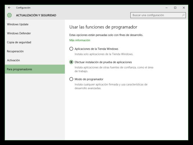 Windows 10 - Modo programador