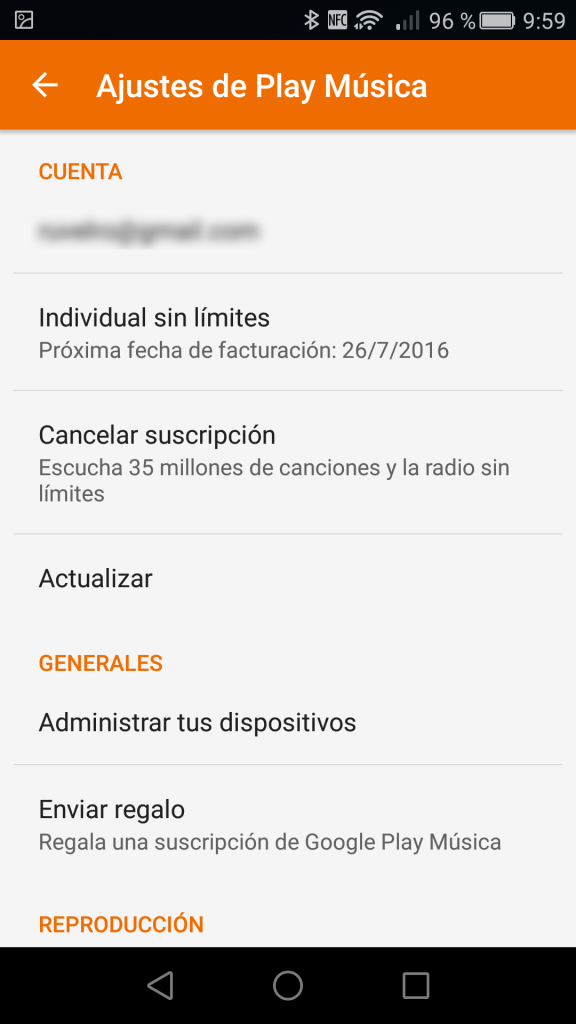 Comprobar y cancelar suscripcion Google Play Music