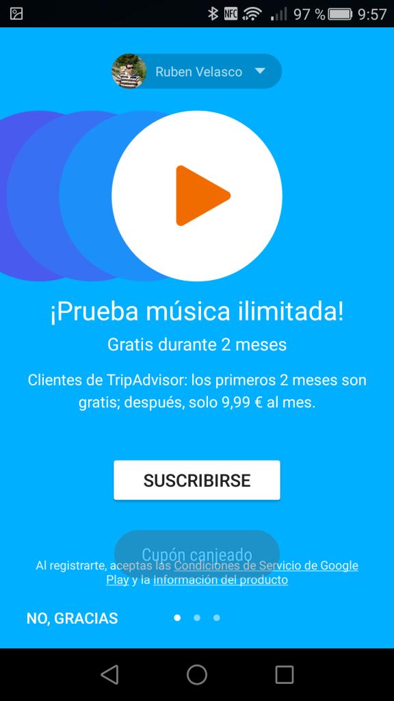 Cupón TripAdvisor canjeado en Google Play Music