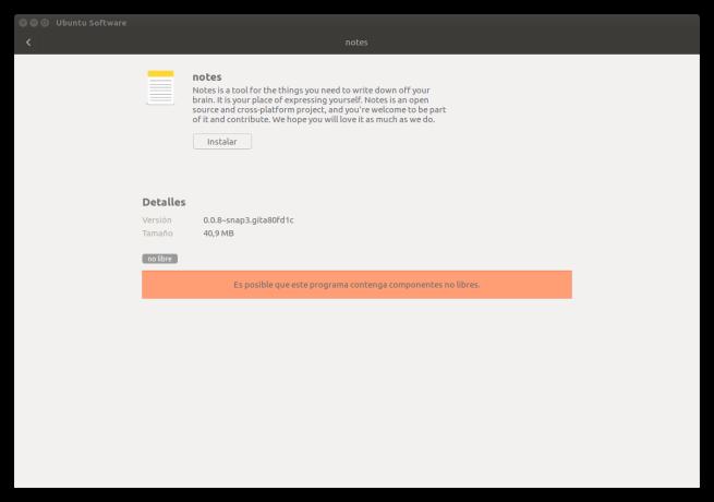 Descripción app Snap de Ubuntu