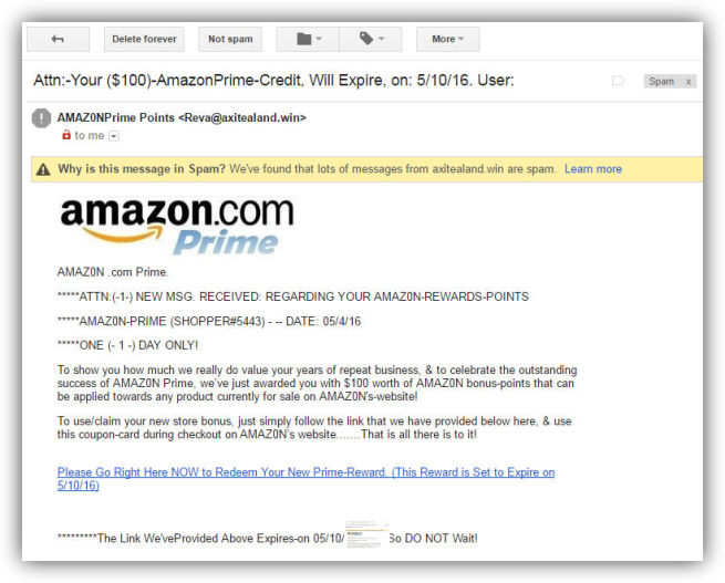 Spam Amazon 100 dólares de crédito