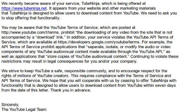 TubeNinja - Amenaza YouTube