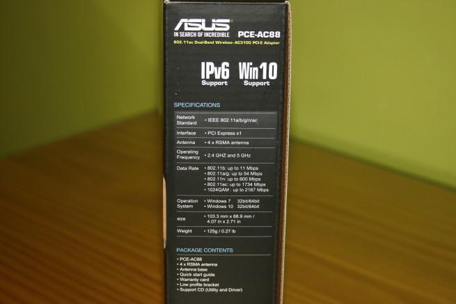 Especificaciones técnicas de la tarjeta ASUS PCE-AC88