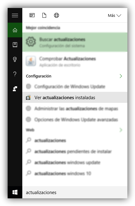 Actualizaciones instaladas Windows 10