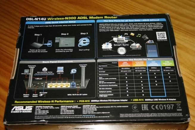 Trasera de la caja del router ASUS DSL-N14U