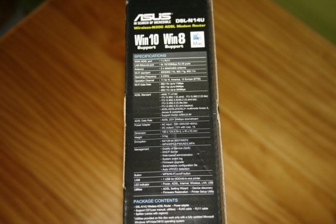 Vista en detalle de las especificaciones del router ASUS DSL-N14U