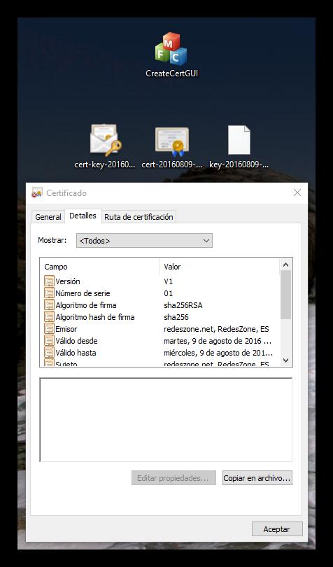 CreateCertGUI - Certificados generados y datos
