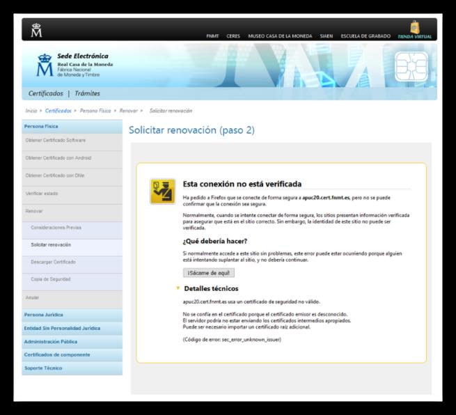 Error certificado al actualizar certificado FNMT
