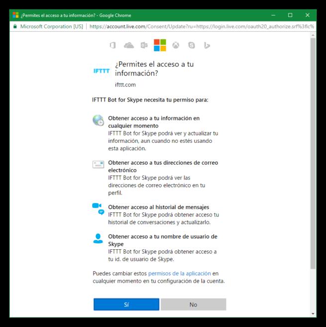 IFTTT Conectar Skype
