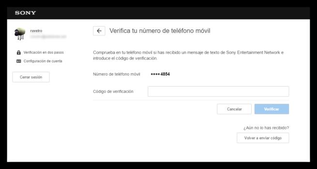 Verificar número móvil PSN