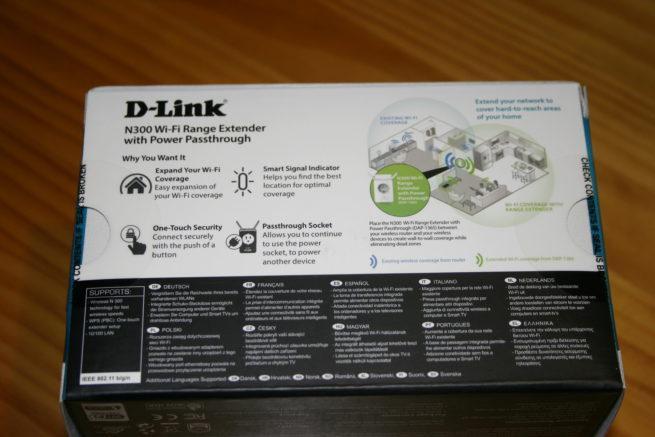 Trasera de la caja del repetidor Wi-Fi D-Link DAP-1365