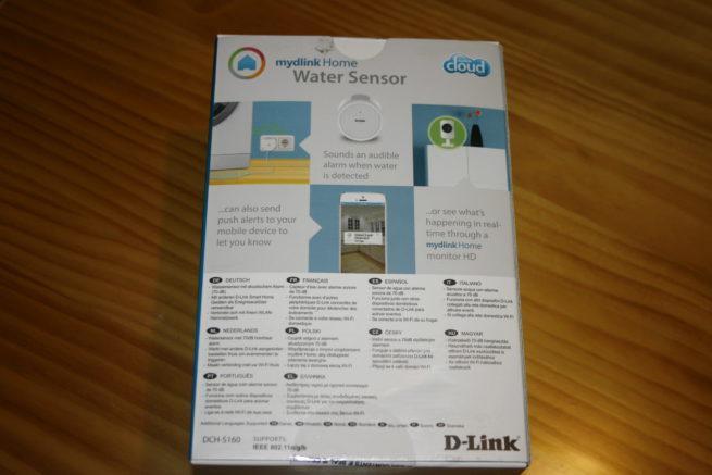 Trasera de la caja del dispositivo D-Link DCH-S160 Water Sensor