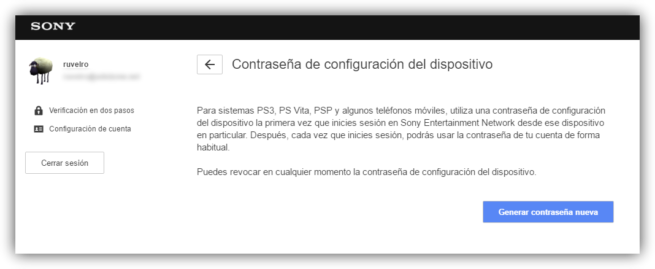 generar contraseña dispositivo PlayStation