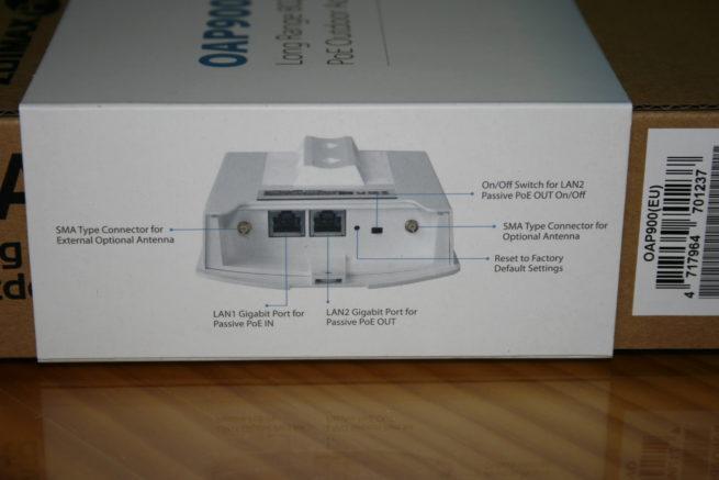 Lateral izquierdo de la caja del AP Edimax OAP900
