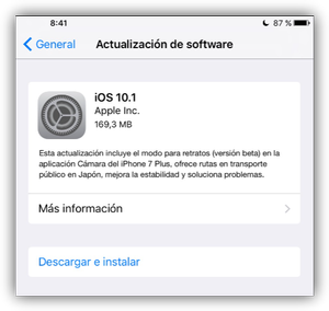 Actualización Apple iOS 10.1