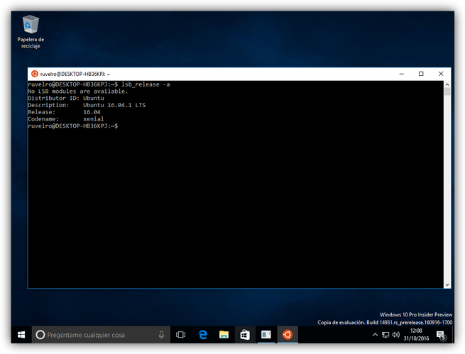 Bash Windows 10 Ubuntu 16.04