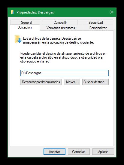 Cambiar ubicación descargas Windows