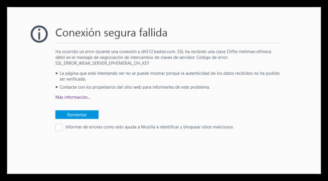 Firefox bloquea certificados Diffie-Hellman
