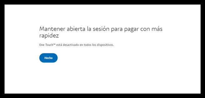 Ningun navegador One Touch PayPal