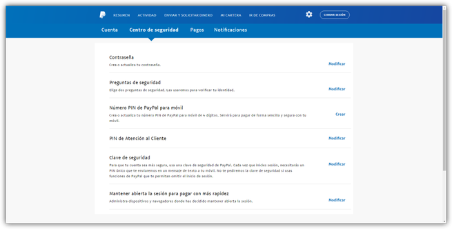 Opciones de seguridad PayPal