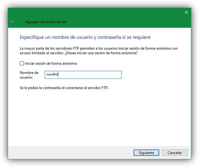 Usuario unidad FTP