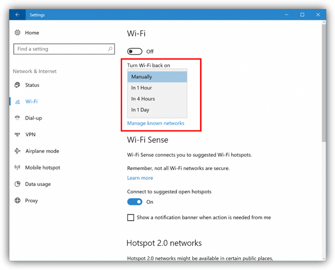 Windows 10 Redstone 2 reactivar Wi-Fi automático