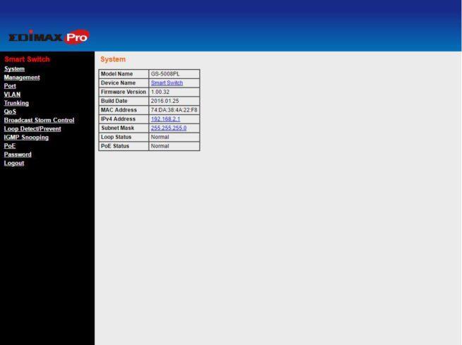 Menu principal del switch Edimax GS-5008PL