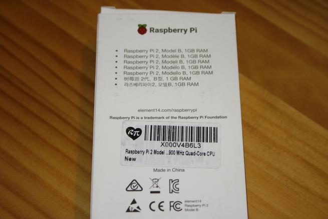 Trasera de la caja de la Raspberry Pi 2 en detalle