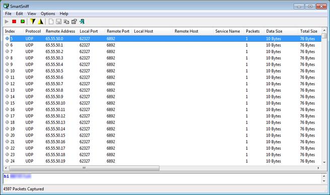 Conexiones UDP Cerber 4.1.4
