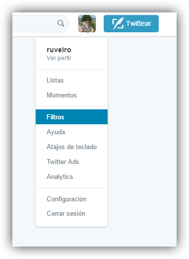 Filtrar mensajes Twitter Open Tweet Filter