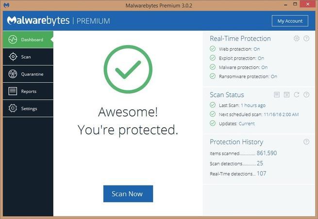 Interfaz Malwarebytes Premium 3