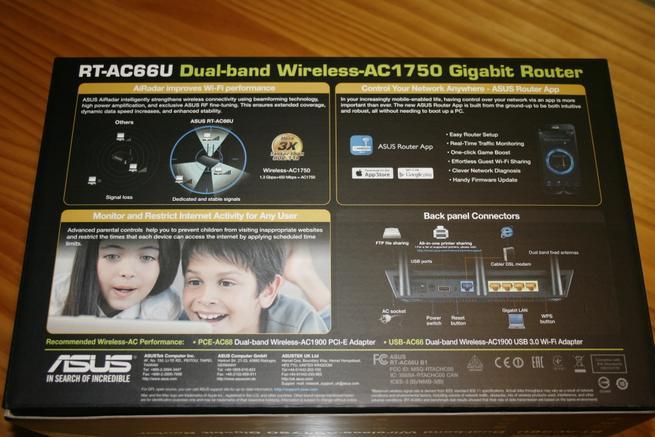 Trasera de la caja del router ASUS RT-AC66U B1